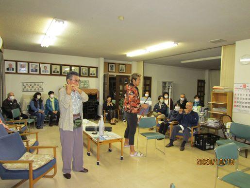 有楽自治会の方々へ曳山囃子の稽古初日をお披露目しました